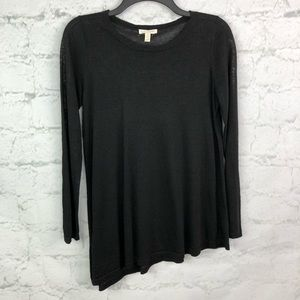 Eileen Fisher black linen sweater petite small ps
